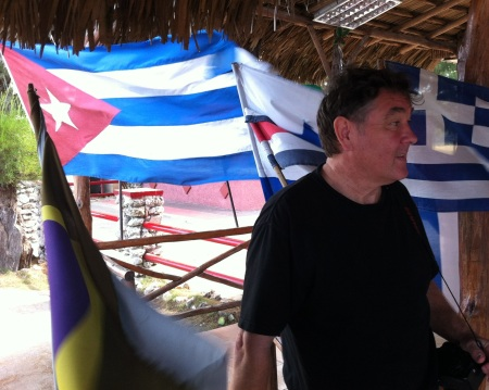 Deryk and the Cuban flag