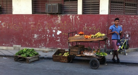 Small carts were everywhere. The fruit was delicious.