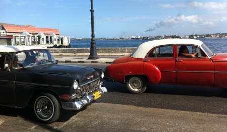 Old cars on Malecon Havana. In Varadero we thought perhaps the old cars were just for the tourists. We changed our mind when we saw Havana!