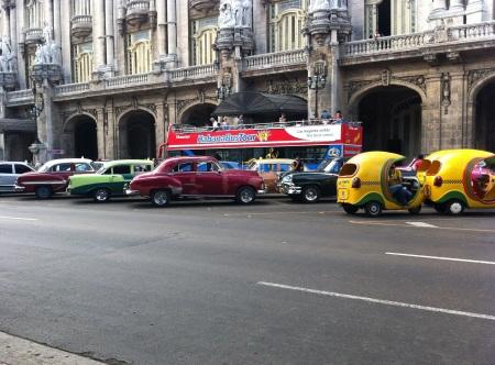 Old cars parked Havana Cuba