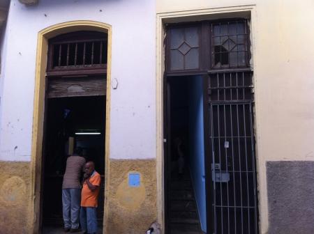 Looking at the door of our casa in Havana Vieja